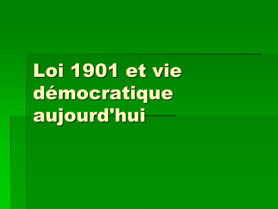 Loi 1901 et vie démocratique aujourd'hui