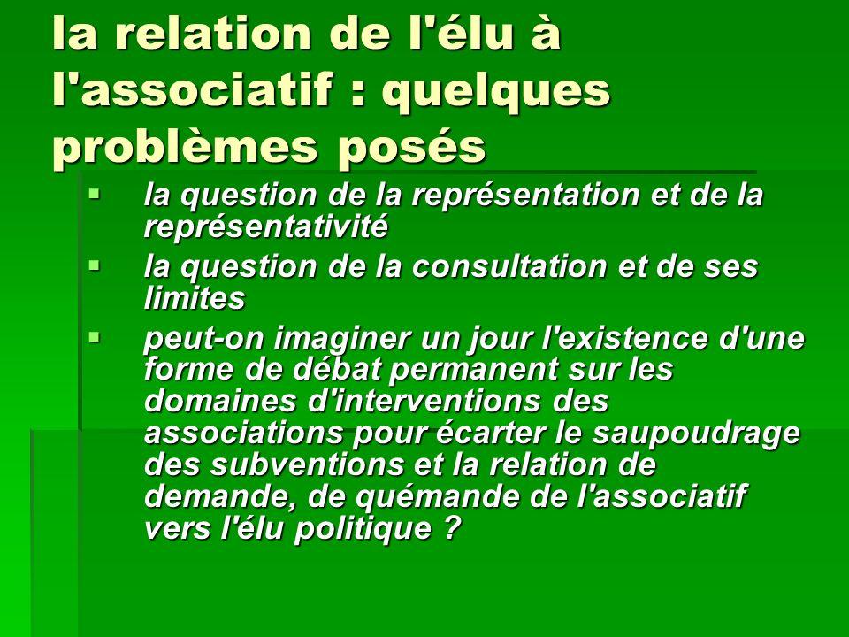 la relation de l'élu à l'associatif : quelques problèmes posés la question de la représentation et de la représentativité la question de la représenta