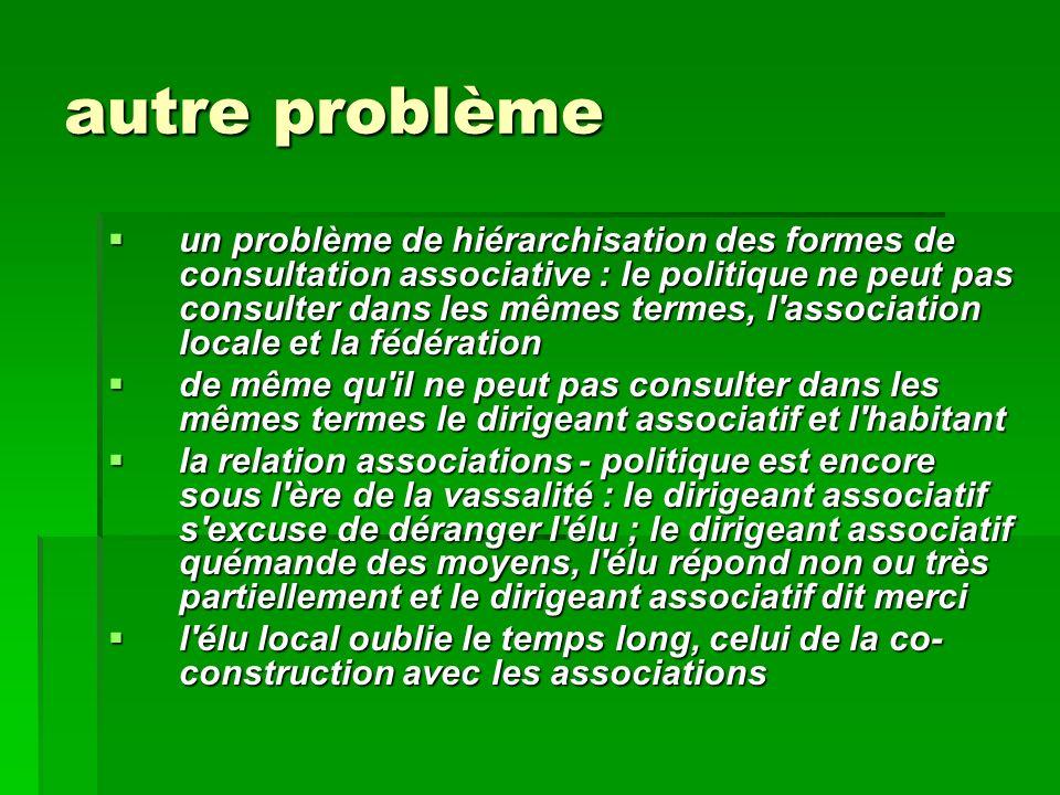 autre problème un problème de hiérarchisation des formes de consultation associative : le politique ne peut pas consulter dans les mêmes termes, l'ass