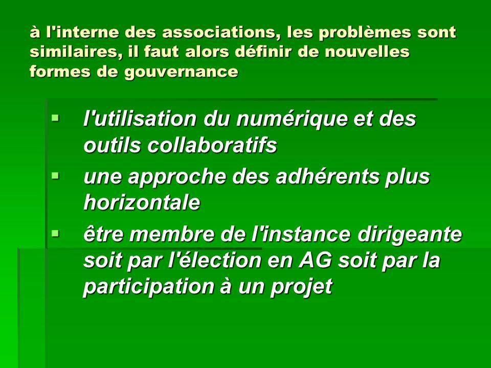 à l'interne des associations, les problèmes sont similaires, il faut alors définir de nouvelles formes de gouvernance l'utilisation du numérique et de