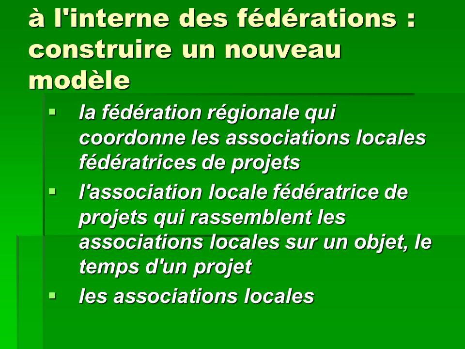à l'interne des fédérations : construire un nouveau modèle la fédération régionale qui coordonne les associations locales fédératrices de projets la f