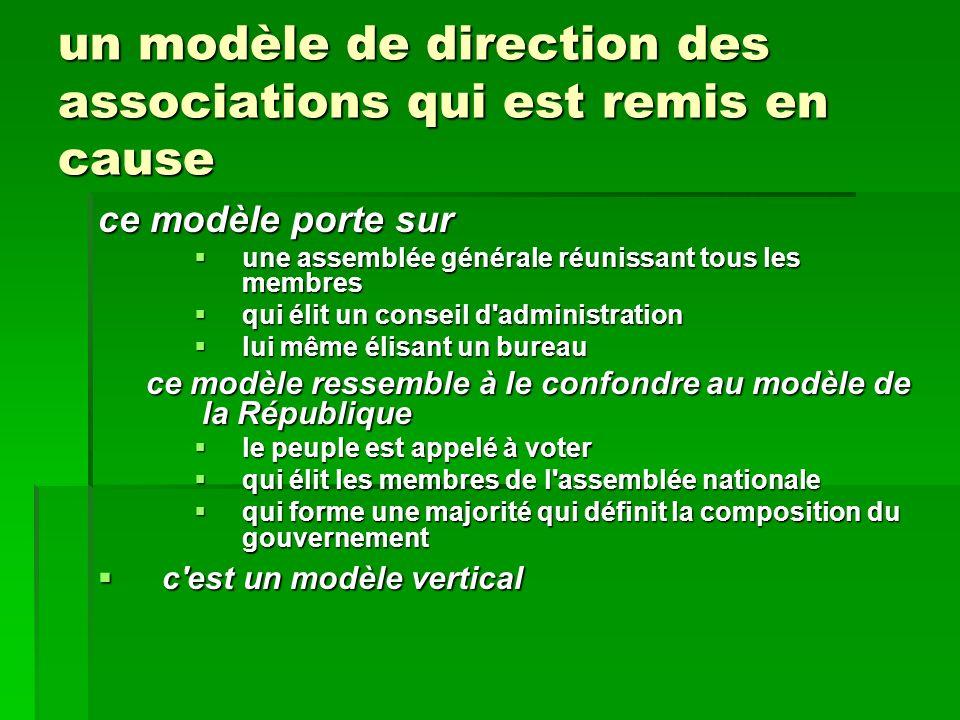 un modèle de direction des associations qui est remis en cause ce modèle porte sur une assemblée générale réunissant tous les membres une assemblée gé