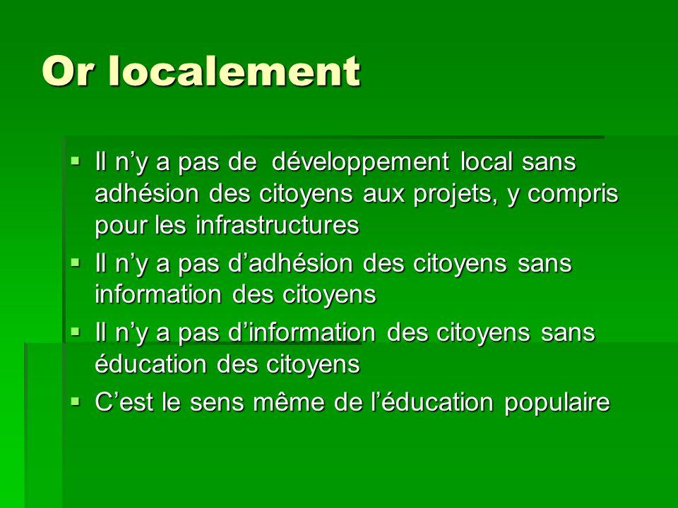 Or localement Il ny a pas de développement local sans adhésion des citoyens aux projets, y compris pour les infrastructures Il ny a pas de développeme
