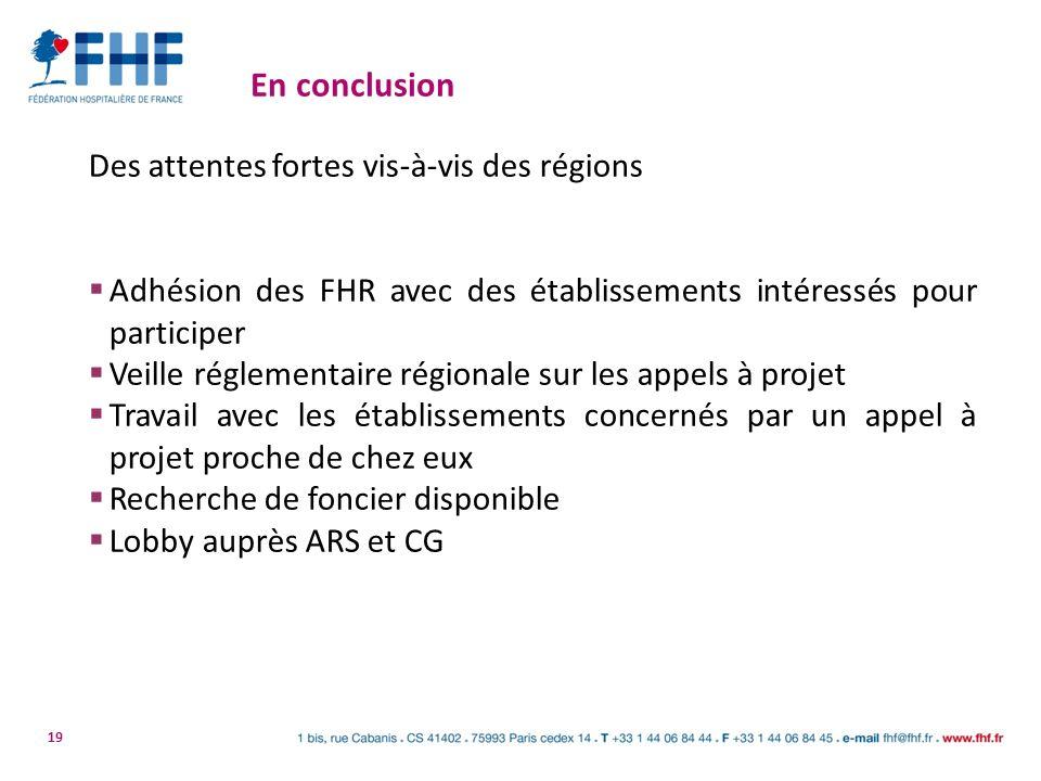19 En conclusion Des attentes fortes vis-à-vis des régions Adhésion des FHR avec des établissements intéressés pour participer Veille réglementaire ré