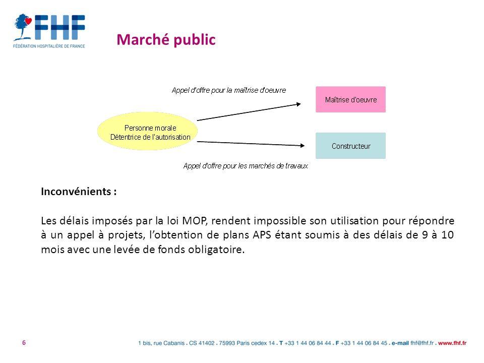 6 Marché public Inconvénients : Les délais imposés par la loi MOP, rendent impossible son utilisation pour répondre à un appel à projets, lobtention d