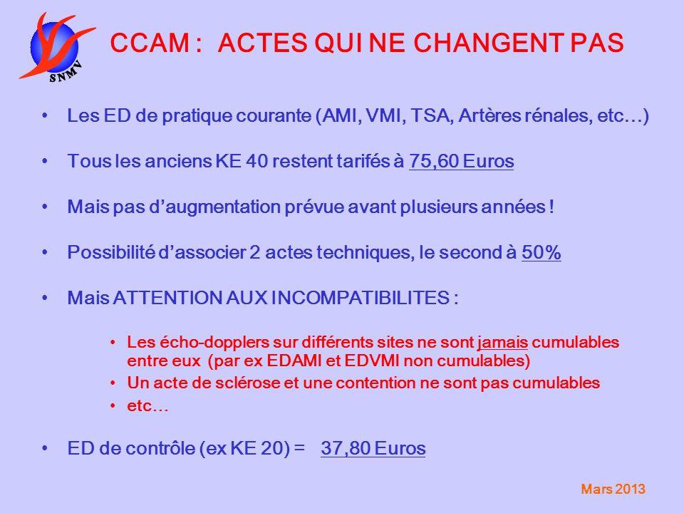 Mars 2013 CCAM : ACTES QUI NE CHANGENT PAS Les ED de pratique courante (AMI, VMI, TSA, Artères rénales, etc…) Tous les anciens KE 40 restent tarifés à