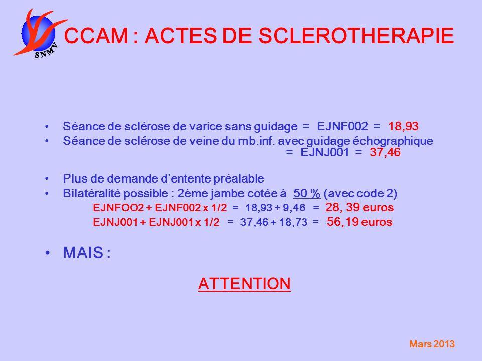 Mars 2013 CCAM : ACTES DE SCLEROTHERAPIE Séance de sclérose de varice sans guidage = EJNF002 = 18,93 Séance de sclérose de veine du mb.inf. avec guida