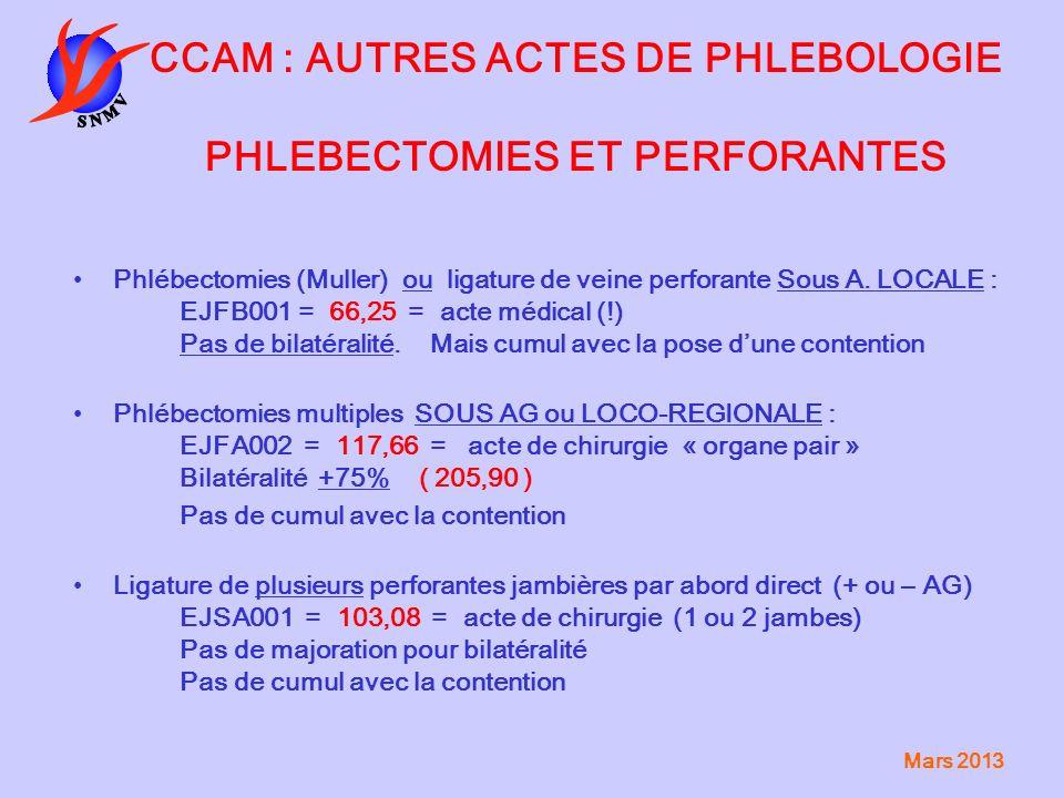 Mars 2013 CCAM : AUTRES ACTES DE PHLEBOLOGIE PHLEBECTOMIES ET PERFORANTES Phlébectomies (Muller) ou ligature de veine perforante Sous A. LOCALE : EJFB