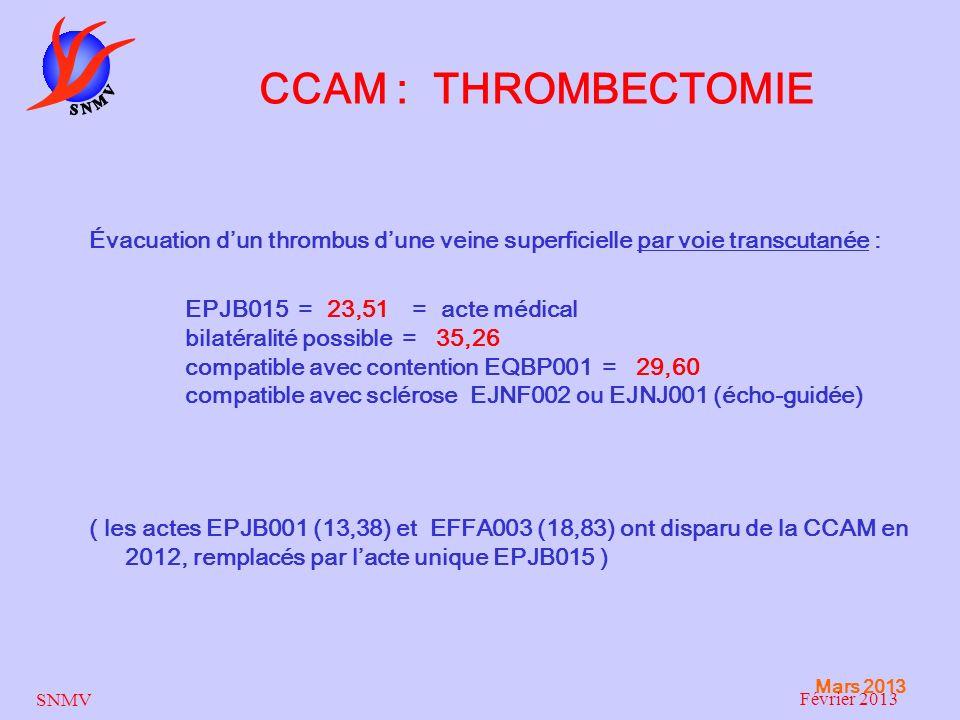 Mars 2013 SNMV Février 2013 CCAM : THROMBECTOMIE Évacuation dun thrombus dune veine superficielle par voie transcutanée : EPJB015 = 23,51 = acte médic