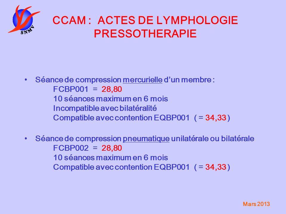 Mars 2013 CCAM : ACTES DE LYMPHOLOGIE PRESSOTHERAPIE Séance de compression mercurielle dun membre : FCBP001 = 28,80 10 séances maximum en 6 mois Incom