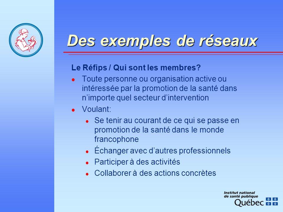 Des exemples de réseaux Le Réfips / Qui sont les membres.