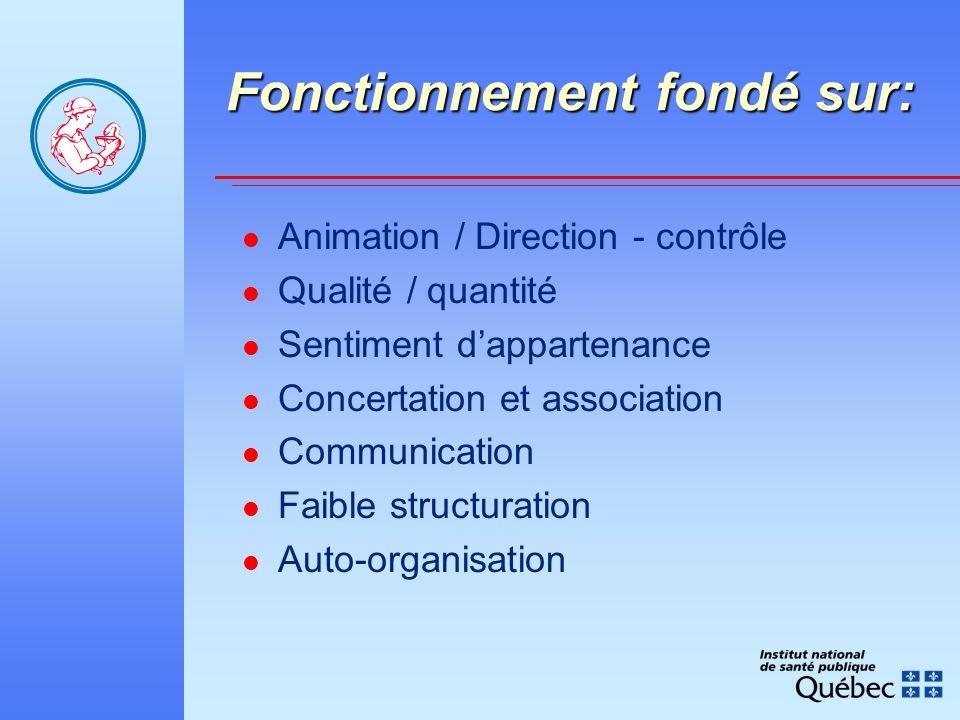Fonctionnement fondé sur: Animation / Direction - contrôle Qualité / quantité Sentiment dappartenance Concertation et association Communication Faible structuration Auto-organisation