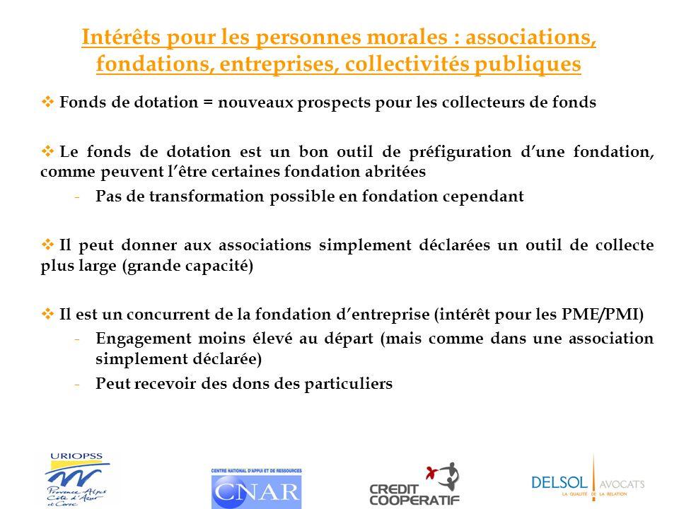 Intérêts pour les personnes morales : associations, fondations, entreprises, collectivités publiques Fonds de dotation = nouveaux prospects pour les c