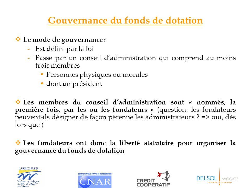 Gouvernance du fonds de dotation Le mode de gouvernance : -Est défini par la loi -Passe par un conseil dadministration qui comprend au moins trois mem