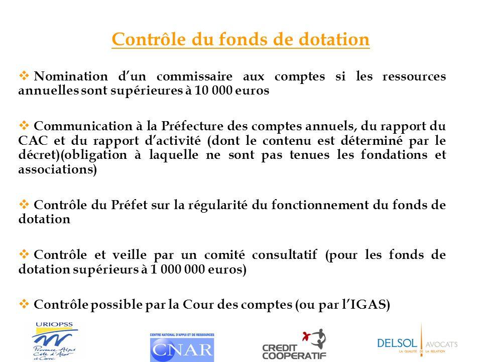 Contrôle du fonds de dotation Nomination dun commissaire aux comptes si les ressources annuelles sont supérieures à 10 000 euros Communication à la Pr
