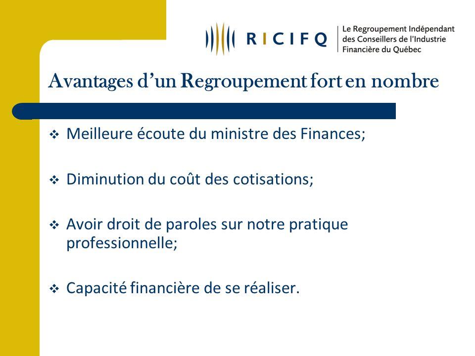 Avantages dun Regroupement fort en nombre Meilleure écoute du ministre des Finances; Diminution du coût des cotisations; Avoir droit de paroles sur notre pratique professionnelle; Capacité financière de se réaliser.
