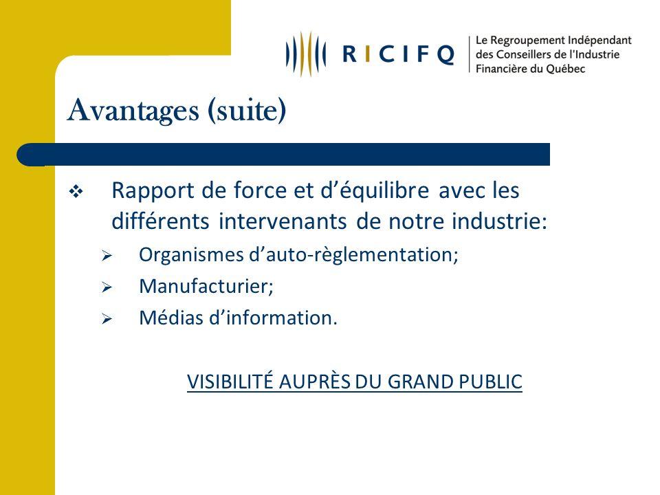 Avantages (suite) Rapport de force et déquilibre avec les différents intervenants de notre industrie: Organismes dauto-règlementation; Manufacturier; Médias dinformation.