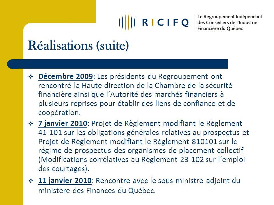 Réalisations (suite) Décembre 2009: Les présidents du Regroupement ont rencontré la Haute direction de la Chambre de la sécurité financière ainsi que lAutorité des marchés financiers à plusieurs reprises pour établir des liens de confiance et de coopération.