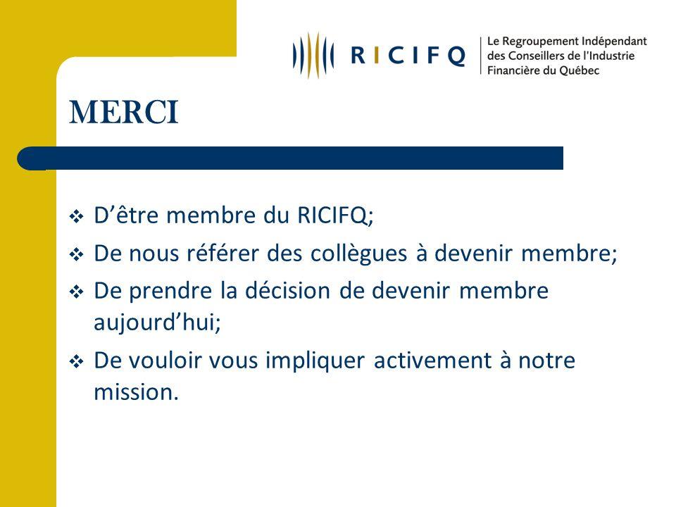 MERCI Dêtre membre du RICIFQ; De nous référer des collègues à devenir membre; De prendre la décision de devenir membre aujourdhui; De vouloir vous impliquer activement à notre mission.