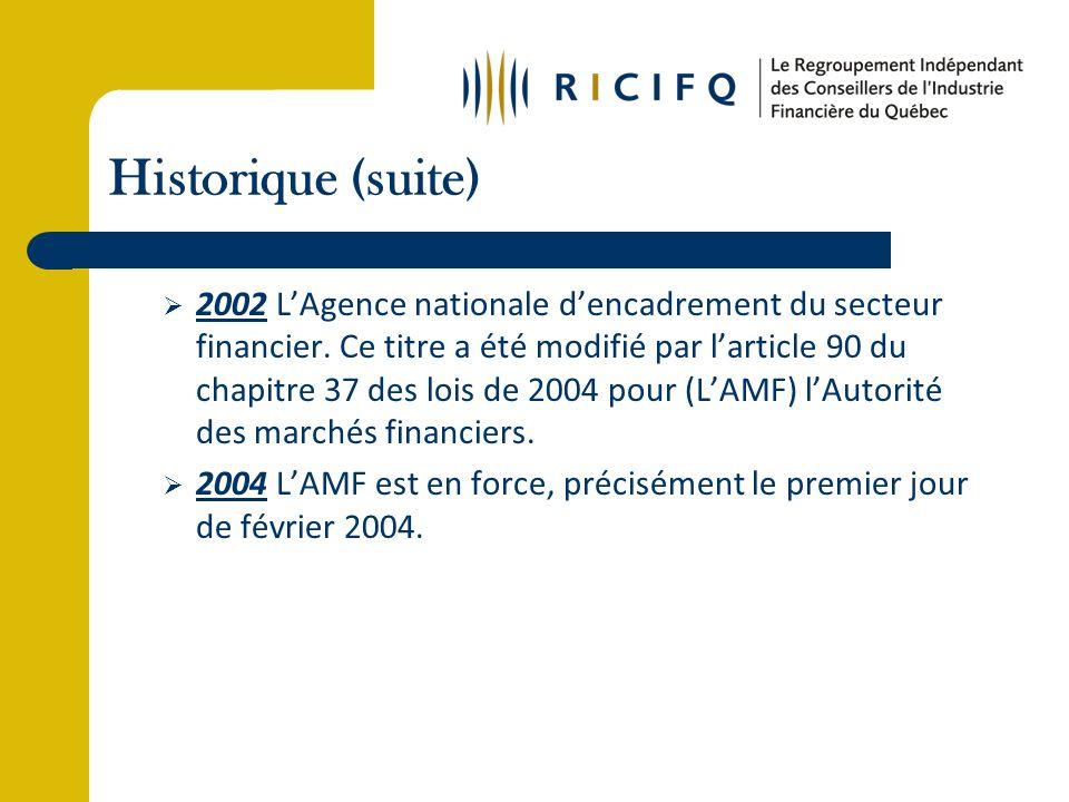 Réalisations (suite) 2007: Le RICIFQ a conclu une entente avec La Turquoise (anciennement INOVESCO), compagnie en assurance responsabilité, pour une réduction significative de la prime.