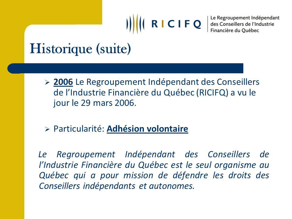 Historique (suite) 2006 Le Regroupement Indépendant des Conseillers de lIndustrie Financière du Québec (RICIFQ) a vu le jour le 29 mars 2006.