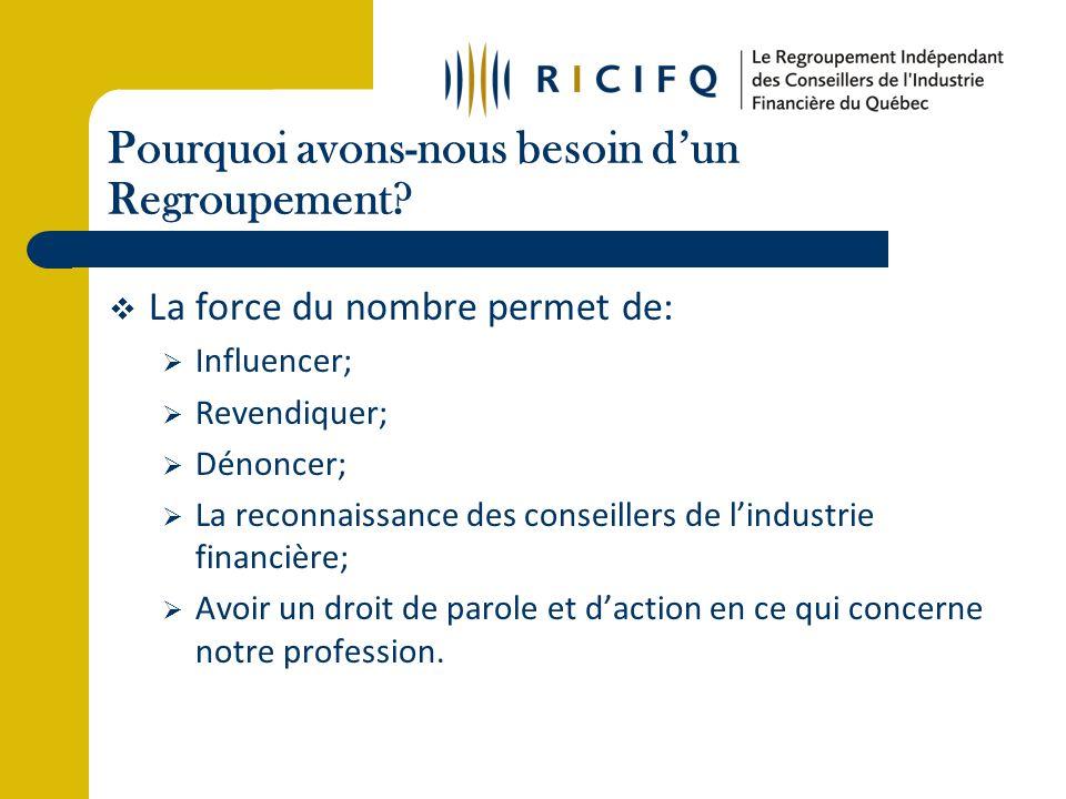 Réalisations (suite) 11 janvier 2010: Le Conseil de direction a rencontré le Regroupement des cabinets de courtage dassurance du Québec pour vérifier les possibilités de collaboration entre les deux entités.