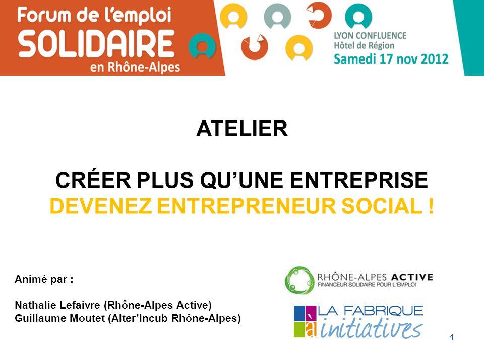 1 Animé par : Nathalie Lefaivre (Rhône-Alpes Active) Guillaume Moutet (AlterIncub Rhône-Alpes) ATELIER CRÉER PLUS QUUNE ENTREPRISE DEVENEZ ENTREPRENEUR SOCIAL !