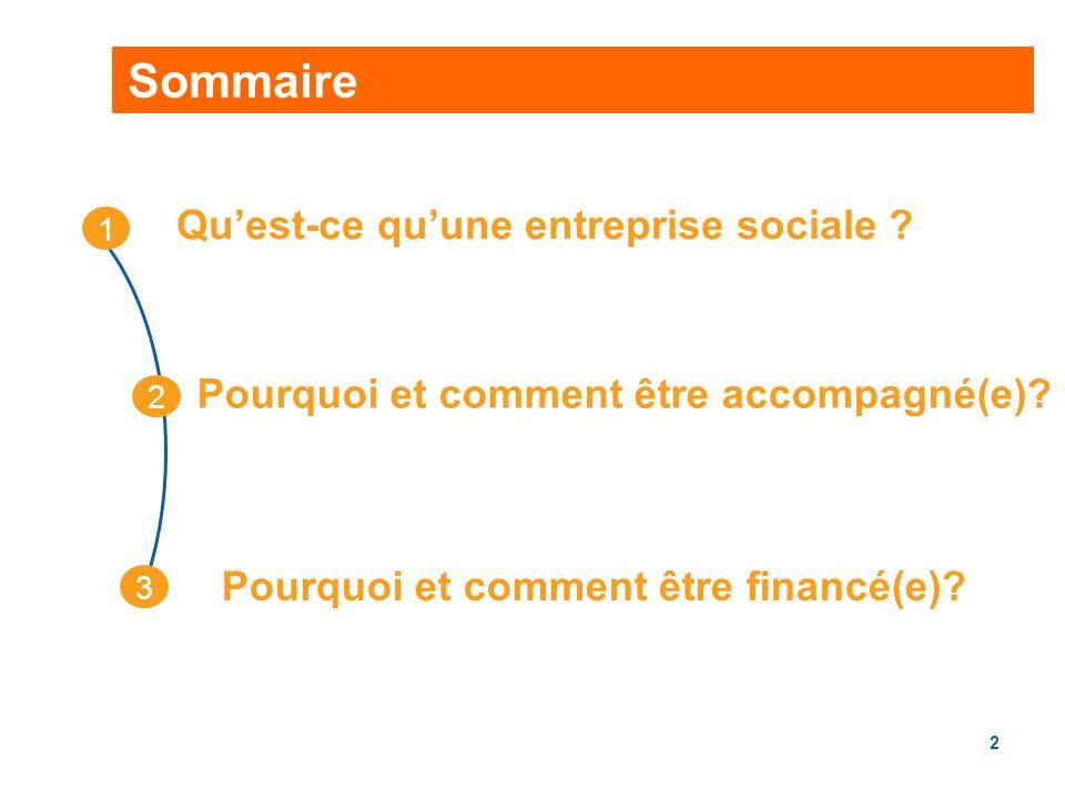 2 Sommaire Quest-ce quune entreprise sociale .Pourquoi et comment être financé(e).