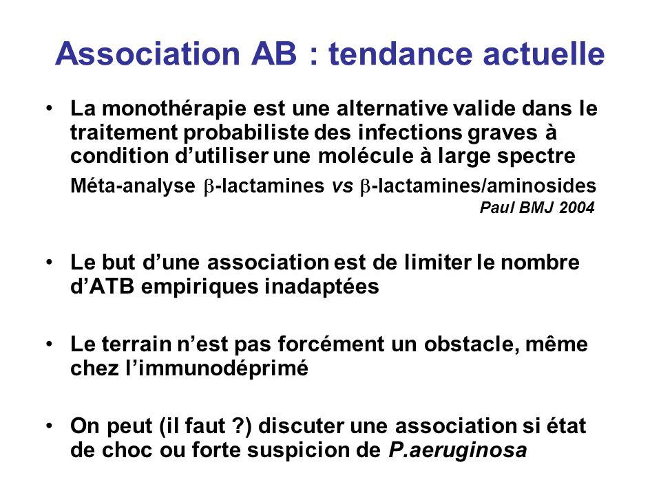Association AB : tendance actuelle La monothérapie est une alternative valide dans le traitement probabiliste des infections graves à condition dutili