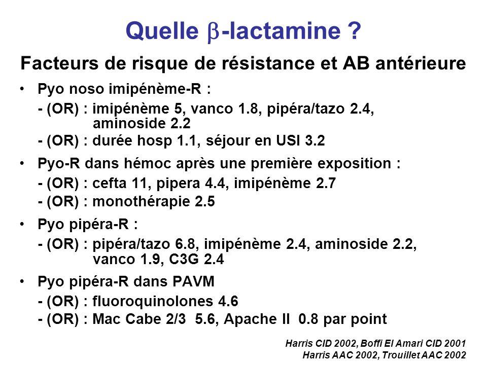Facteurs de risque de résistance et AB antérieure Pyo noso imipénème-R : - (OR) : imipénème 5, vanco 1.8, pipéra/tazo 2.4, aminoside 2.2 - (OR) : duré