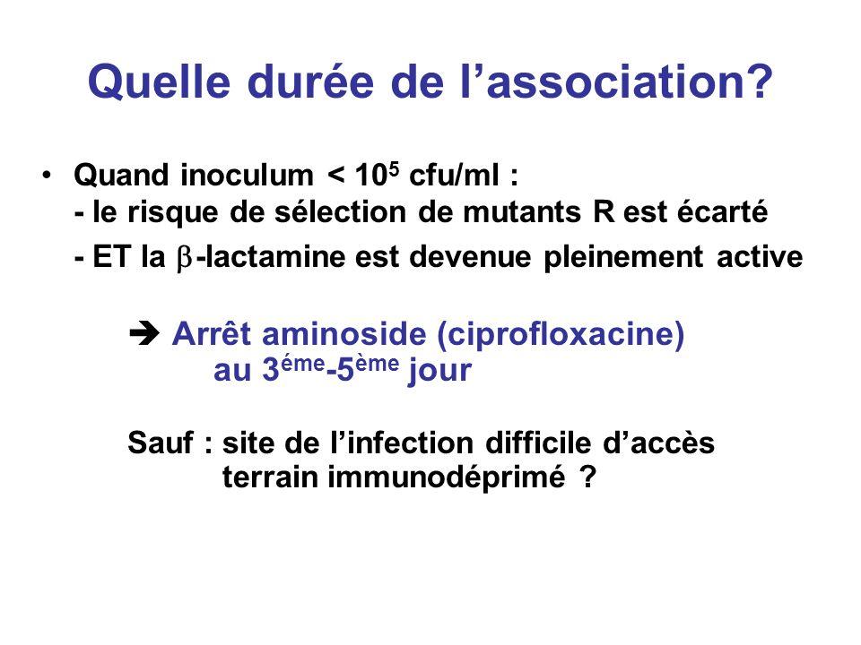 Quelle durée de lassociation? Quand inoculum < 10 5 cfu/ml : - le risque de sélection de mutants R est écarté - ET la -lactamine est devenue pleinemen