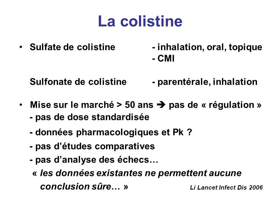 La colistine Sulfate de colistine - inhalation, oral, topique - CMI Sulfonate de colistine - parentérale, inhalation Mise sur le marché > 50 ans pas d