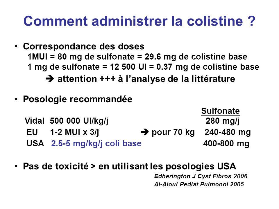 Comment administrer la colistine ? Pas de toxicité > en utilisant les posologies USA Edherington J Cyst Fibros 2006 Al-Aloul Pediat Pulmonol 2005 Corr