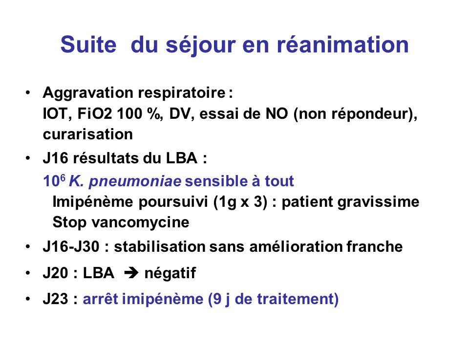 Suite du séjour en réanimation Aggravation respiratoire : IOT, FiO2 100 %, DV, essai de NO (non répondeur), curarisation J16 résultats du LBA : 10 6 K