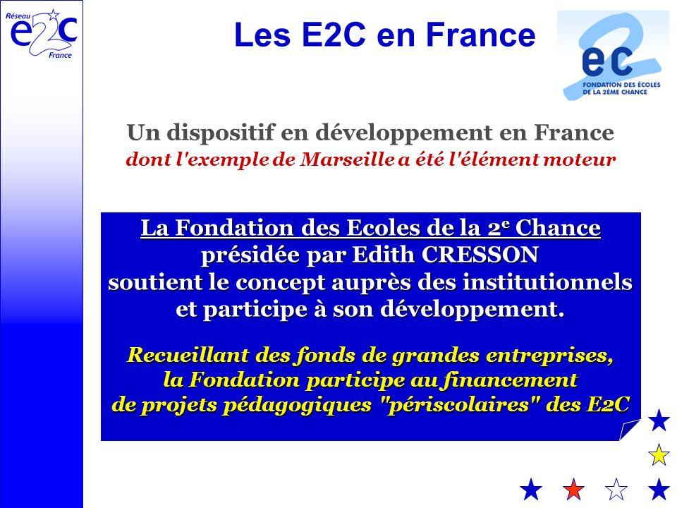 Les E2C en France Un dispositif en développement en France dont l exemple de Marseille a été l élément moteur La Fondation des Ecoles de la 2 e Chance présidée par Edith CRESSON soutient le concept auprès des institutionnels et participe à son développement.
