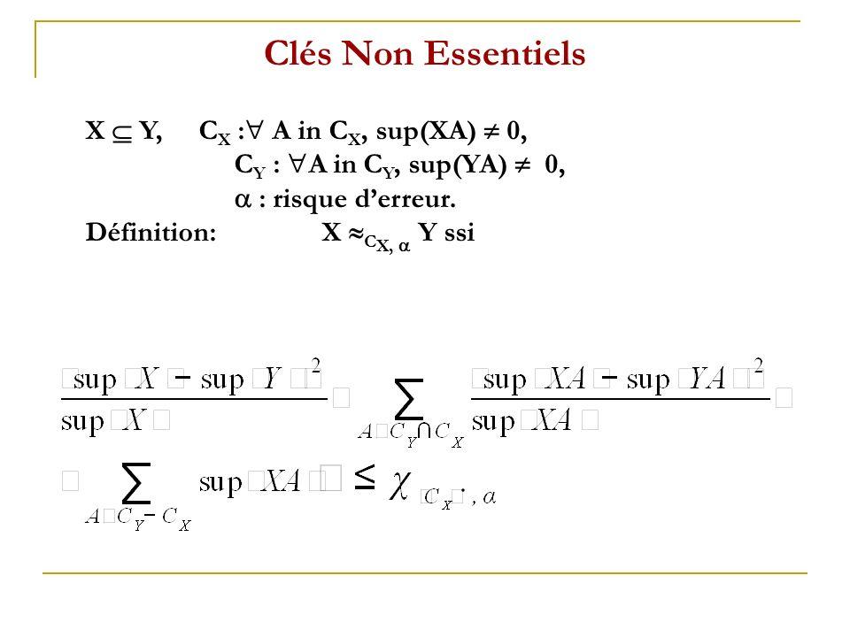 Clés Non Essentiels X Y, C X : A in C X, sup(XA) 0, C Y : A in C Y, sup(YA) 0, : risque derreur. Définition: X C X, Y ssi