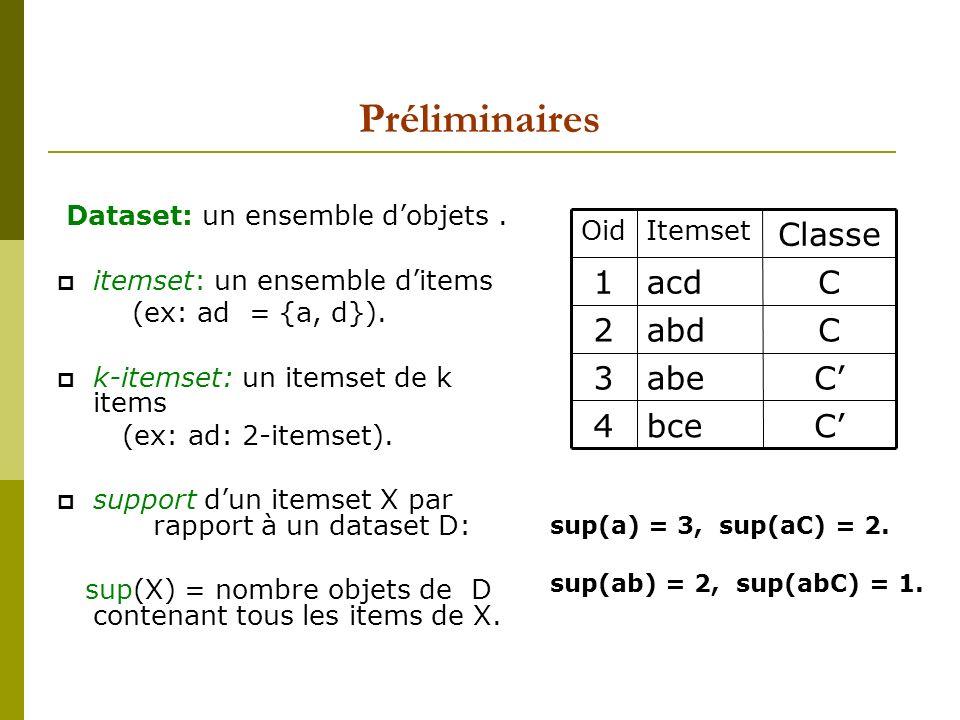 Préliminaires Dataset: un ensemble dobjets. itemset: un ensemble ditems (ex: ad = {a, d}). k-itemset: un itemset de k items (ex: ad: 2-itemset). suppo