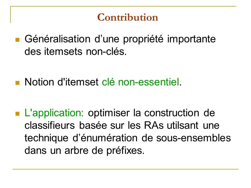 Contribution Généralisation dune propriété importante des itemsets non-clés. Notion d'itemset clé non-essentiel. L'application: optimiser la construct