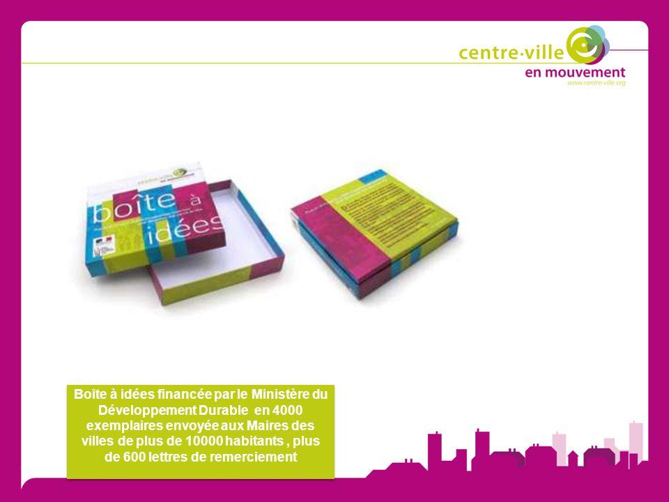 Boîte à idées financée par le Ministère du Développement Durable en 4000 exemplaires envoyée aux Maires des villes de plus de 10000 habitants, plus de 600 lettres de remerciement
