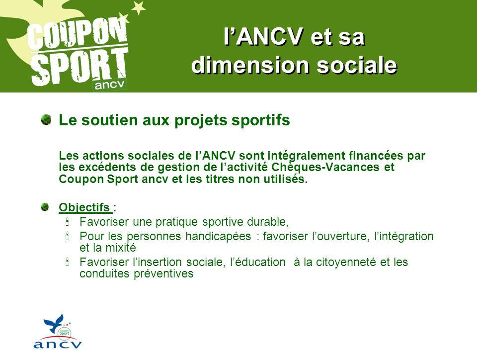 lANCV et sa dimension sociale Le soutien aux projets sportifs Les actions sociales de lANCV sont intégralement financées par les excédents de gestion de lactivité Chèques-Vacances et Coupon Sport ancv et les titres non utilisés.