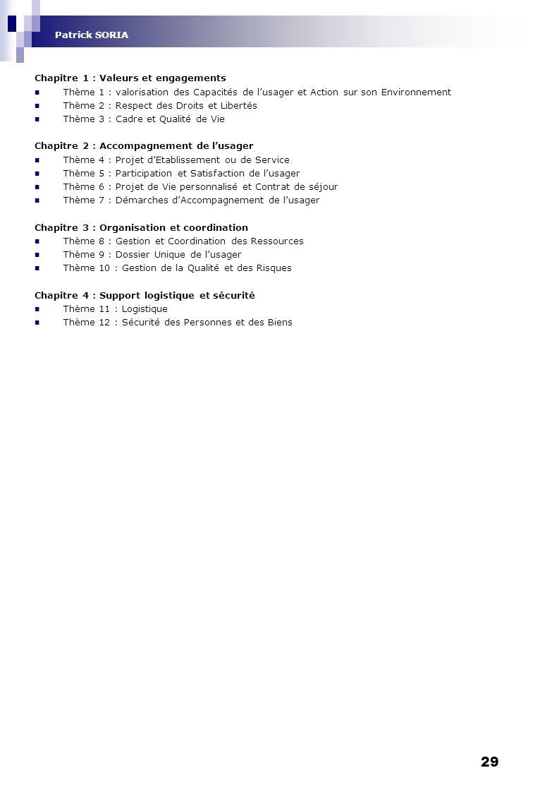 29 Chapitre 1 : Valeurs et engagements Thème 1 : valorisation des Capacités de lusager et Action sur son Environnement Thème 2 : Respect des Droits et