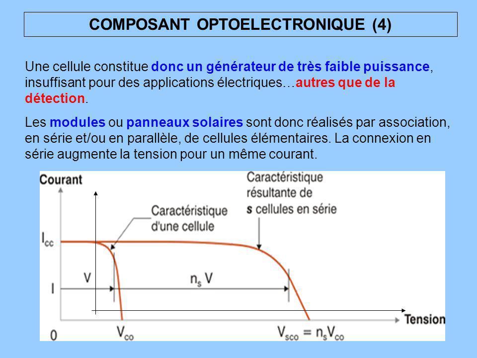 Une cellule constitue donc un générateur de très faible puissance, insuffisant pour des applications électriques…autres que de la détection. Les modul