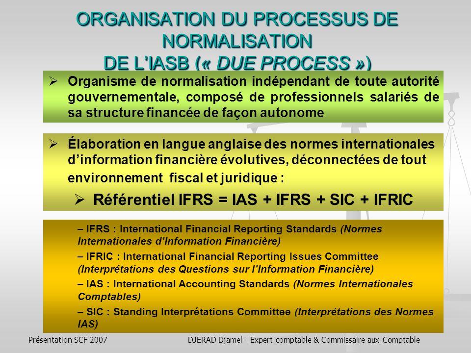 Présentation SCF 2007DJERAD Djamel - Expert-comptable & Commissaire aux Comptable REPARTITION DES MEMBRES DU BOARD EN FONCTION DE LEUR EXPERIENCE PROFESSIONNELLE NORMALISATEURS COMPTABLES : 5, NORMALISATEURS COMPTABLES : 5, 1 ASB (Royaume-Uni), 2 FASB (États-Unis), 1 Fondation de recherche comptable australienne (Australie), 1 IASB (Canada).