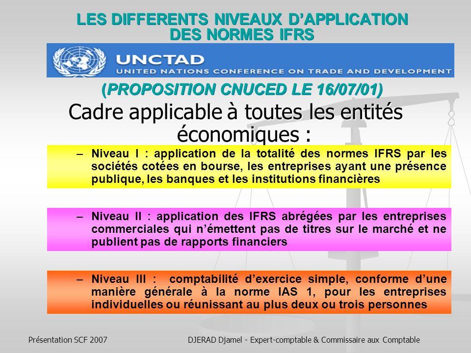 Présentation SCF 2007DJERAD Djamel - Expert-comptable & Commissaire aux Comptable Le cas de lUE Lunion européenne est la plus grande zone dapplication des IFRS