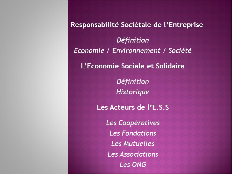 Responsabilité Sociétale de lEntreprise Définition Economie / Environnement / Société LEconomie Sociale et Solidaire Définition Historique Les Acteurs