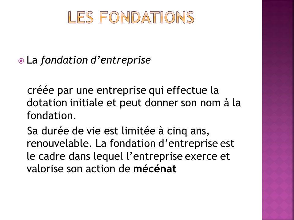 La fondation dentreprise créée par une entreprise qui effectue la dotation initiale et peut donner son nom à la fondation. Sa durée de vie est limitée