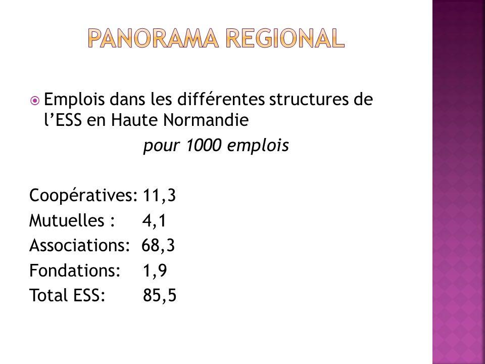 Emplois dans les différentes structures de lESS en Haute Normandie pour 1000 emplois Coopératives: 11,3 Mutuelles : 4,1 Associations: 68,3 Fondations: