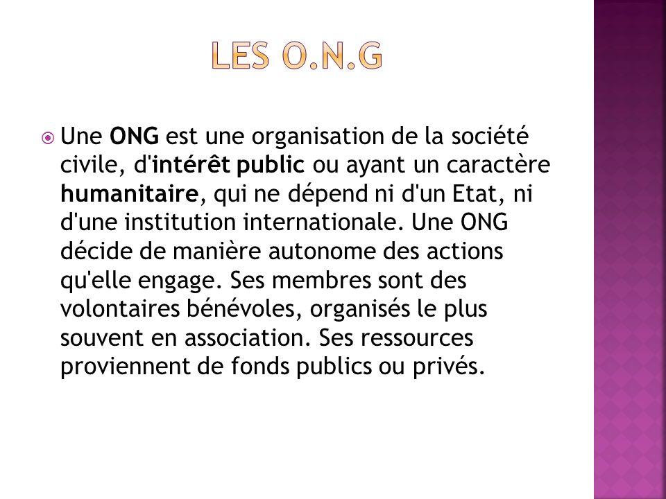 Une ONG est une organisation de la société civile, d'intérêt public ou ayant un caractère humanitaire, qui ne dépend ni d'un Etat, ni d'une institutio