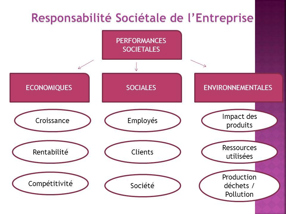 Croissance PERFORMANCES SOCIETALES ECONOMIQUESENVIRONNEMENTALESSOCIALES Rentabilité Compétitivité Société Clients Employés Production déchets / Pollut