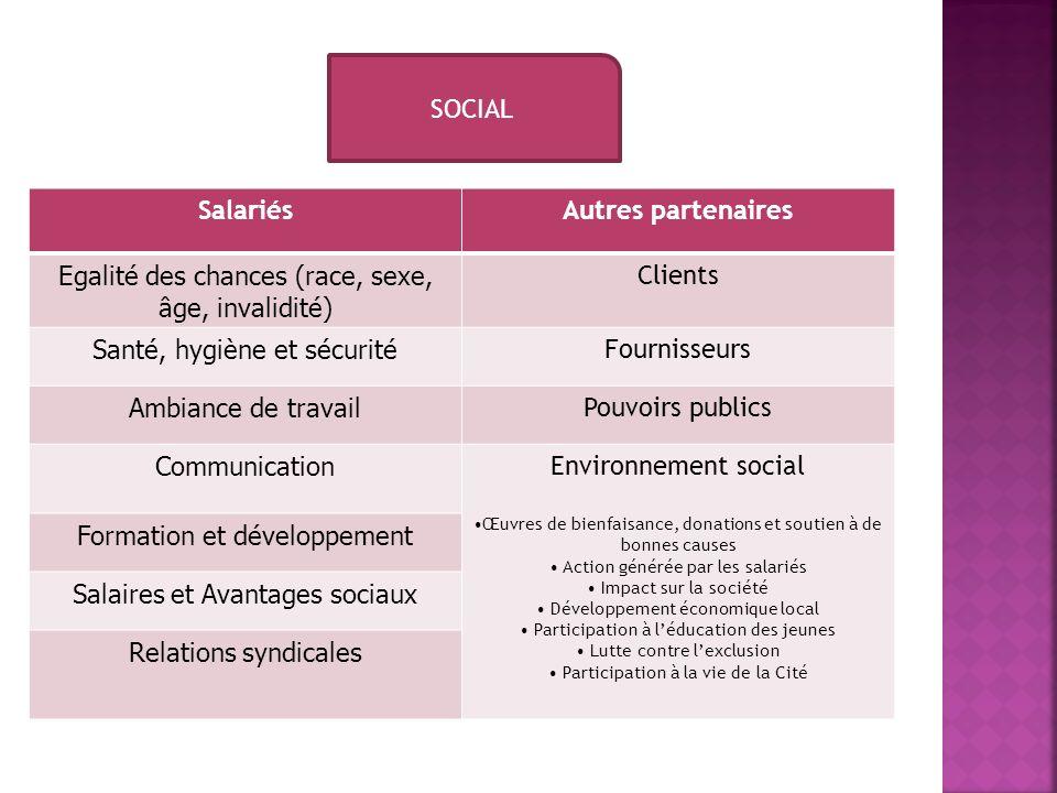 SOCIAL SalariésAutres partenaires Egalité des chances (race, sexe, âge, invalidité) Clients Santé, hygiène et sécurité Fournisseurs Ambiance de travai